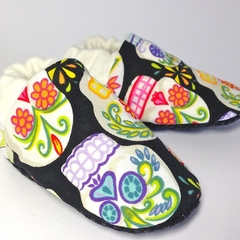 """Baby shoes """"sugar skulls"""" stay on/soft soled eco-friendly bamboo halloween"""