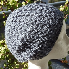 Child, Teen , Adult, Hand-Knit,  FREE POST , Wool, Dark Grey Lacy Slouchy Beanie