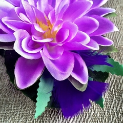 Karen - Reserved listing PURPLE LOTUS flower feather hairclip OOAK