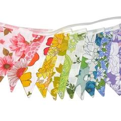 Vintage Bunting Retro Rainbow Bright Floral Flags. Multi-Colour Home Decoration