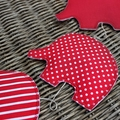 Elephant Mobile Red & White Fabric / Spots Stripes / Baby Shower / Girl / Boy