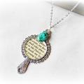 SALE Love story necklace. Jane Austen Mr Darcy Pride  Prejudice Elizabeth Bennet
