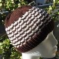 Hand Knit, Wool, Child, Beanie Hat, Chocolate Brown & Cream