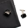 Australian Black Jade and sterling silver cuff-links
