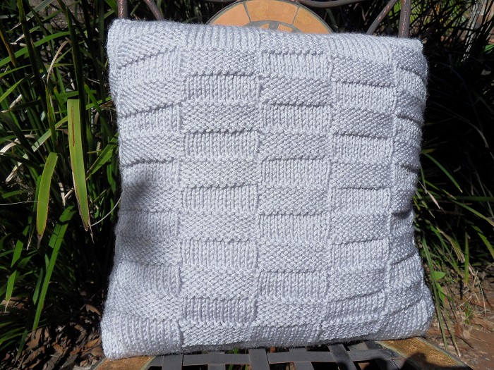 Silver Grey Cushion Coverknitbasket Weave Patternhand Knitted