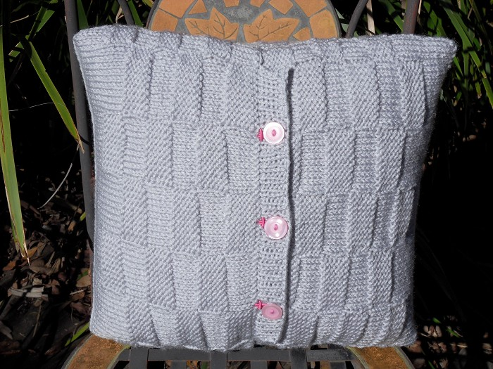 silver grey cushion weave patternhand knitted cushion cover