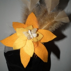 Buttercup Flower Power SALE yellow felt fascinator headpiece WATTMILLINERY