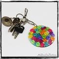 Resin Keyring - Pink Buttons - Bag Tag - Luggage Identifier