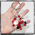 Resin Keyring - Red Buttons - Bag Tag