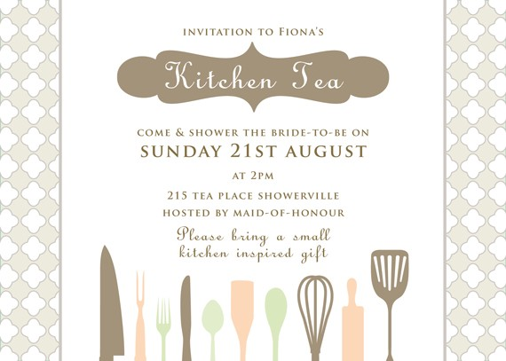 printable custom kitchen tea bridal shower invitation cutlery coco