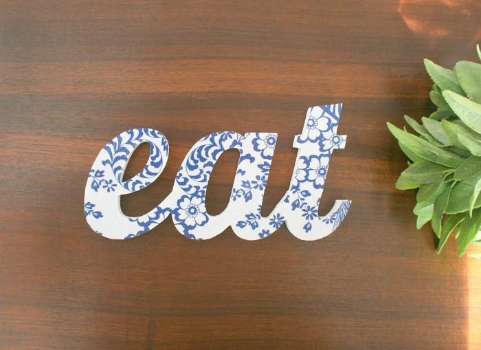 Eat Sign Eat Wood Blue White Fabric Word Home Decor Kitchen D Cor