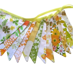 Vintage Bunting - Retro Yellow Green Orange SUMMER CITRUS Floral Flags