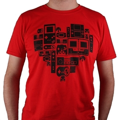 Video games (Nintendo inspired) red heart t-shirt - adults