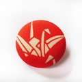 Fabric Button Brooch - Origami Crane on Red