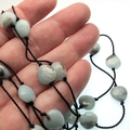 Blue and black Amazonite long necklace