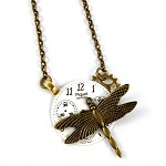 CLOSING DOWN SALE  steampunk vintage dial bronze dragonfly necklace