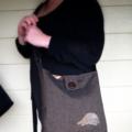 Charcoal messenger  handbag with leather and linen blue wren bird detail