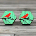 Bird on branch wooden hexagon disc earrings