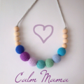 Calm Mama Necklace - crocheted teething necklace purple blue green