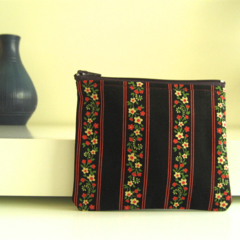 Navy, red striped, green, red and cream floral print coin purse
