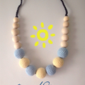 Beach Mama Necklace - crocheted teething necklace sand and sky