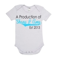 A PRODUCTION OF, Est 2013 Baby Onesie Personalised with Names and Year.