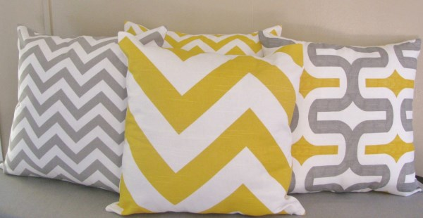 Retro Brigt Yellow Grey And White Embrace Print Cushion Cushions