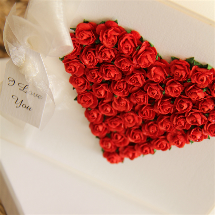 L Love You Card Heart Paper Roses Gift Boxed The Little Card