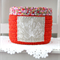crochet storage basket, red  with agapanthus and flowers, free postage