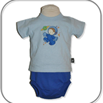 Size 00 SET... Sky blue Astronaut T-shirt With Nappy cover Panties