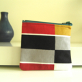 Red, mustard, black, grey and white large checked brushed deni lined purse