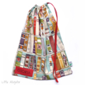LAST ONE! Library Bag. Large Drawstring Bag. School or Kindy. Retro Vintage Cars