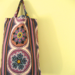 Purple, blue, white retro floral print calico lined tote