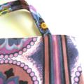 Purple, blue, white retro floral print calico lined tote