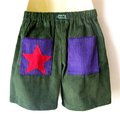 Babies & kids sizes avail. Green corduroy kids shorts with purple pockets