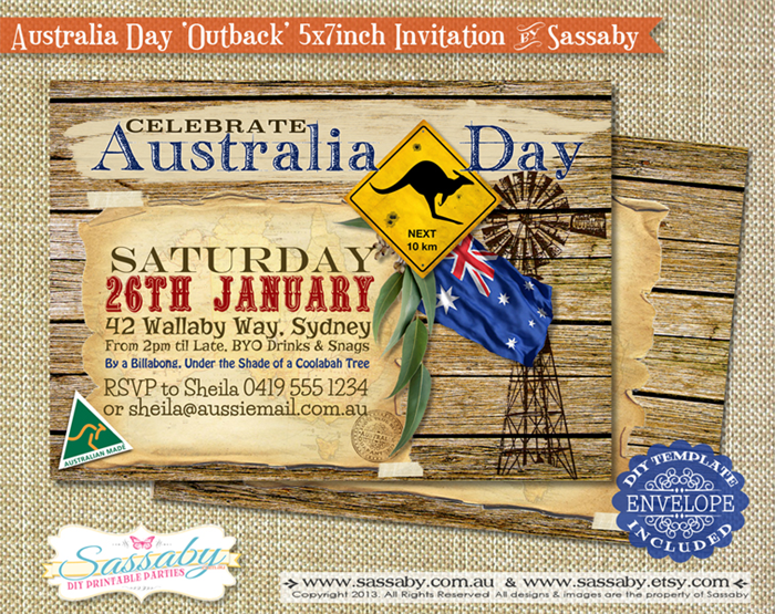 Australia Day Outback Party Invitation DIY PRINTABLE FILE – Australia Day Party Invitations