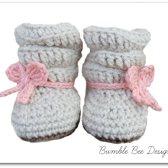 Hand crochet Slouch Baby Boots Booties for Girls 1-6 months