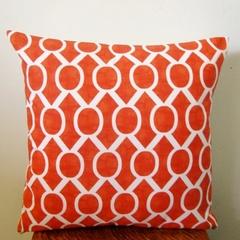 Retro Geometric Tangelo Orange & White Cushion Cover  - Retro Cushions