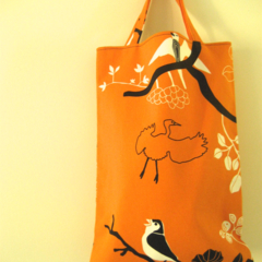 Orange black and white bird print calico lined tote bag