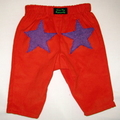 sizes 000 to 3 available - Orange corduroy boys pants with purple chenille stars