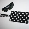 Padded Sunglasses Pouch in Black and White Polka Dot fabric