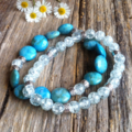 Mottled Blue Phoenix Stone and Crackle Glass Bracelet Set