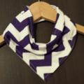 GRAPE CHEVRON Super-Absorbent 3-Layered bandana bib with Waterproof backing