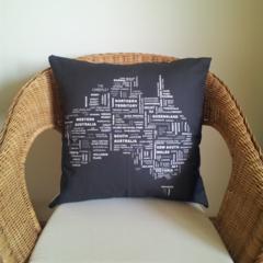 Black and White Australia Cushion