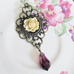 Vika Brooch. Yellow Rose Flower Amethyst Purple Preciosa Crystal Brass Filigree