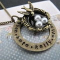 Personalised Any Names Dove Pearl Nest Necklace Christmas Birthday Nana Gifts