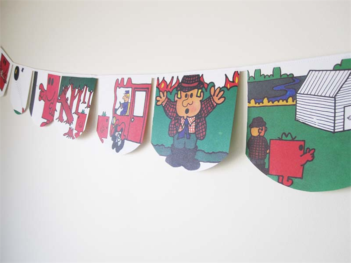 mr men mr strong bunting perfect for decorations