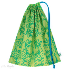 Large Library Bag. Damask Floral. Turquoise Olive Green.