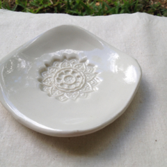 Round White Ceramic Soap Dish
