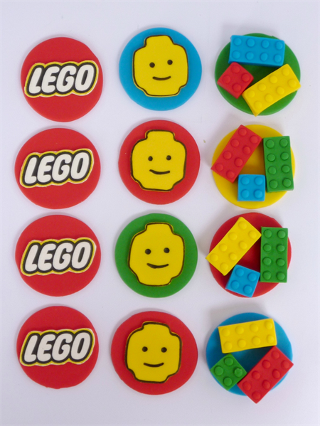 12 X Edible Lego Cupcake Toppers Sweet Party Treats On